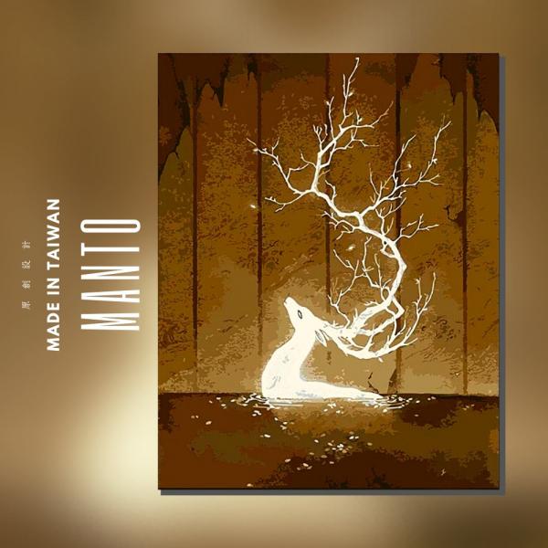 光の鹿【現貨】 |MANTO創意數字油畫(4050M) 風景畫,花田,數字油畫,manto,台灣數字油畫,數字油畫批發,數字油畫團購