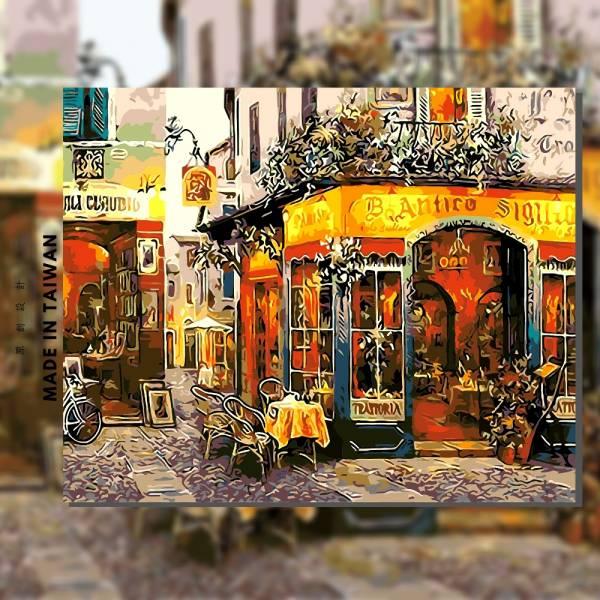 香檸咖啡館|MANTO創意數字油畫(4050M) 地中海,希臘,數字油畫,manto,台灣數字油畫,數字油畫批發,數字油畫團購