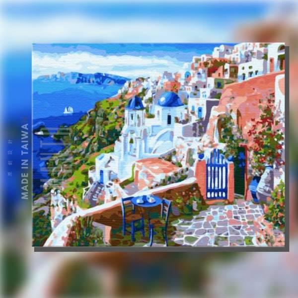 希臘左巴|MANTO創意數字油畫(4050) 希臘,風景畫,藍天,數字油畫,manto,台灣數字油畫,數字油畫批發,數字油畫團購