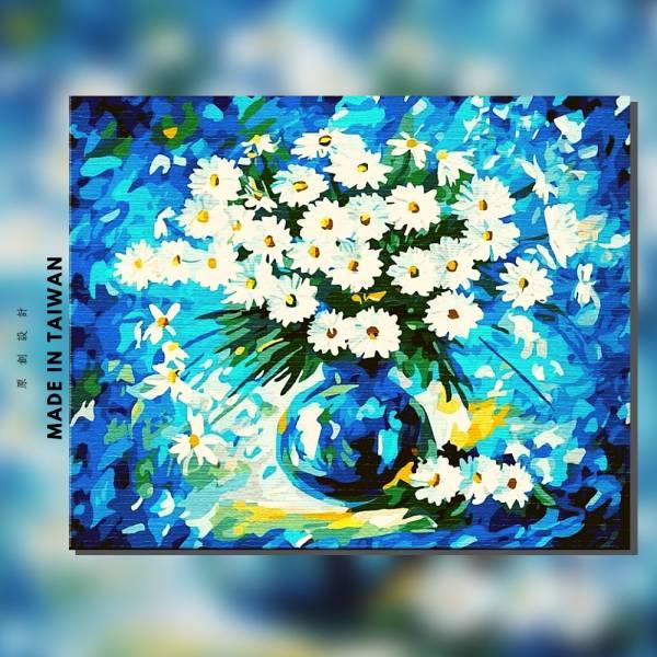 雛菊寶石藍|MANTO創意數字油畫(4050) 盆花,雛菊,花田,數字油畫,manto,台灣數字油畫,數字油畫批發,數字油畫團購