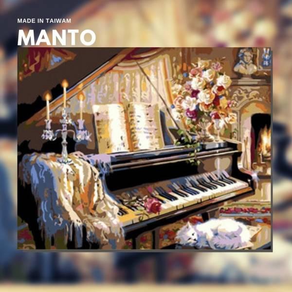 琴爐軼情|MANTO創意數字油畫(4050M) 鋼琴,貓,數字油畫,manto,台灣數字油畫,數字油畫批發,數字油畫團購
