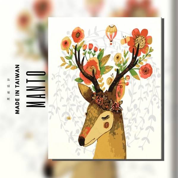 含羞花鹿|MANTO創意數字油畫(4050M) 北歐風,鹿,數字油畫,manto,台灣數字油畫,數字油畫批發,數字油畫團購