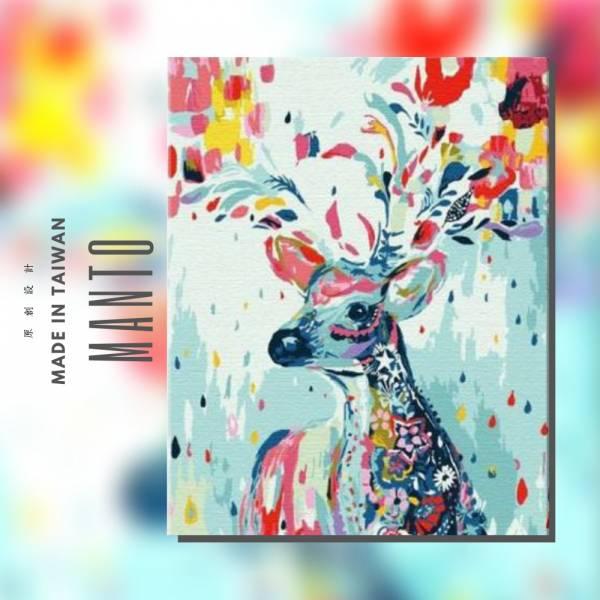彩舞花鹿|MANTO創意數字油畫(4050) 北歐風,裝飾畫,鹿,數字油畫,manto,台灣數字油畫,數字油畫批發,數字油畫團購