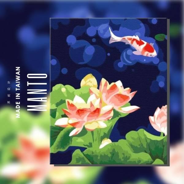 自在悠游-4050(珠光炫金)|MANTO創意數字油畫 鯉魚畫,數字油畫,manto,台灣數字油畫,數字油畫批發,數字油畫團購