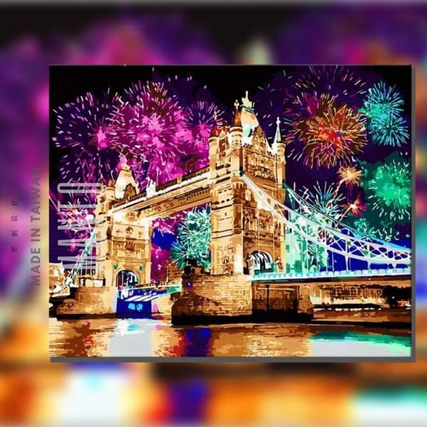 倫敦燦爛夜|MANTO創意數字油畫(4050) 英國,風景畫,煙火,數字油畫,manto,台灣數字油畫,數字油畫批發,數字油畫團購