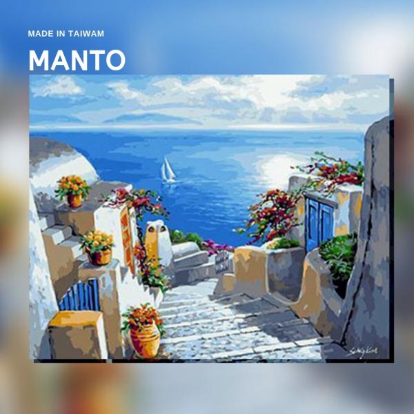 希臘藍白風光|MANTO創意數字油畫(4050M) 希臘,數字油畫,manto,台灣數字油畫,數字油畫批發,倫敦