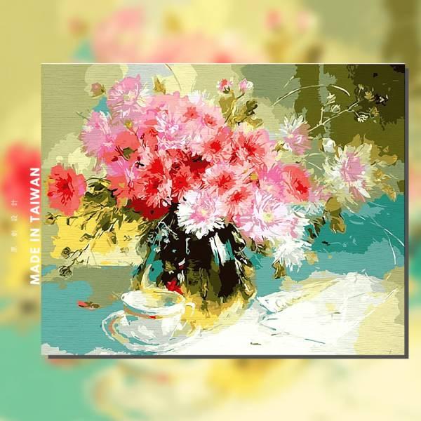 花姿搖曳【現貨】 |MANTO創意數字油畫(4050M) 盆花,花田,數字油畫,manto,台灣數字油畫,數字油畫批發,數字油畫團購
