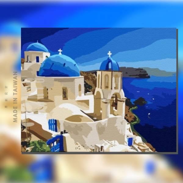 愛戀聖托里尼(希臘)|MANTO創意數字油畫(4050) 希臘,風景畫,聖托里尼,數字油畫,manto,台灣數字油畫,數字油畫批發,數字油畫團購