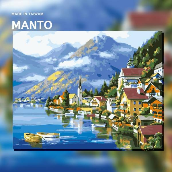 哈爾施塔特|MANTO創意數字油畫(4050M) 哈爾施塔特,風景畫,數字油畫,manto,台灣數字油畫,數字油畫批發,倫敦