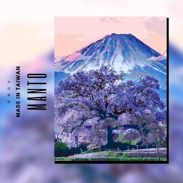 夜櫻富士【40色挑戰款】|MANTO創意數字油畫(4050M) 夜櫻富士,櫻花,數字油畫,manto,數字畫