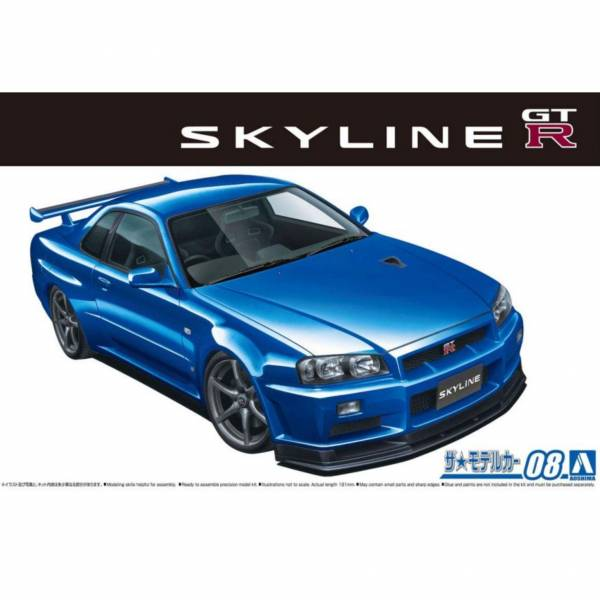 AOSHIMA 1/24 模型車 #8 日產 BNR34 Skyline GT-R V-specⅡ'02  組裝模型 AOSHIMA ,1/24 ,模型車 ,#8 ,日產 ,BNR34 ,Skyline ,GT-R ,V-specⅡ'02  ,組裝模型