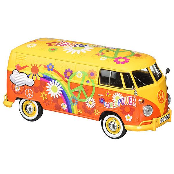 Motormax / 1/24 / 福斯胖卡 / Volkswagen Type 2 T1 彩繪慶典花 合金完成品 Motormax,1/24,福斯,胖卡,救助車,Volkswagen Type 2 T1,彩繪慶典花