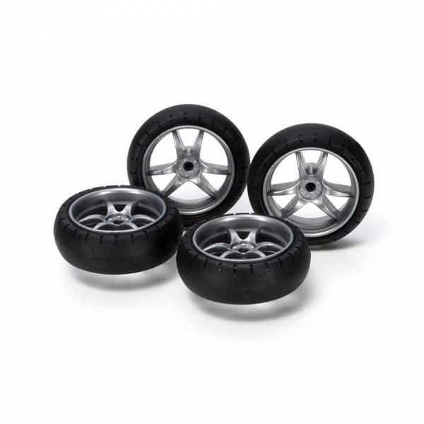 TAMIYA 田宮 #15491 迷你四驅車 軌道車 大徑 大爪框 輪胎 V Spoke Narrow Wheels with Arched Tires TAMIYA, 田宮,15491,迷你四驅車, 軌道車,大徑,大爪框,V Spoke Narrow Wheels with Arched Tires