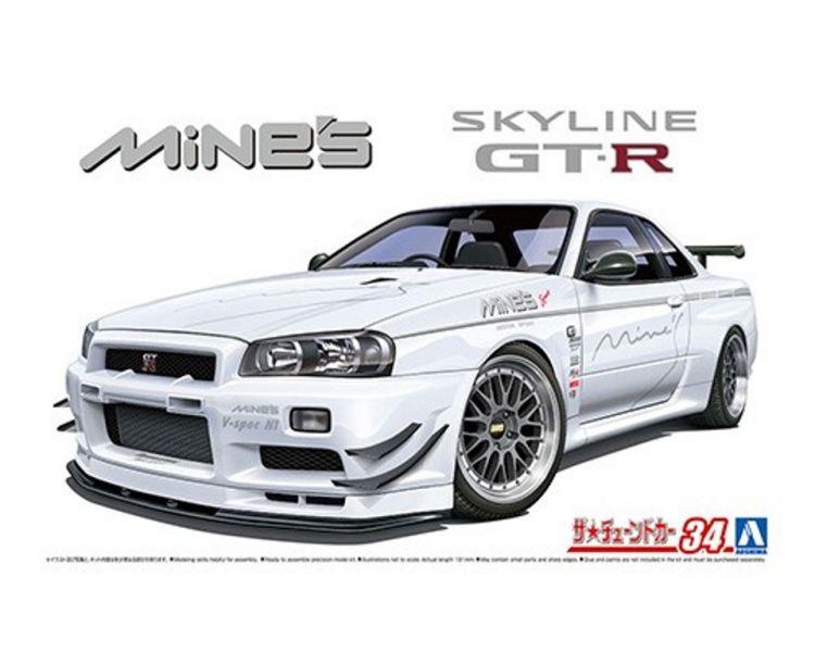 AOSHIMA 青島 1/24 改裝車 #34 日產Skyline Mine's BNR34 GT-R '02 組裝模型 AOSHIMA,青島,1/24,改裝車,#,34,日產,Skyline,Mine,',s,BNR,34,GT-R,',02,組裝,模型,