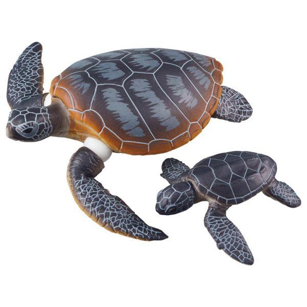 TAKARA TOMY Ania AS-20 綠蠵龜親子 可浮於水面ver. 可動公仔 TAKARA TOMY,Ania,AS-20,綠蠵龜,可浮於水面ver.