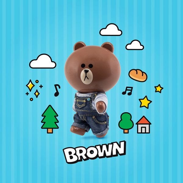 Topi P-Style LINE FRIENDS BROWN熊大 休閒裝Ver. 可動公仔 Topi,P-Style LINE FRIENDS,BROWN熊大,休閒裝Ver.