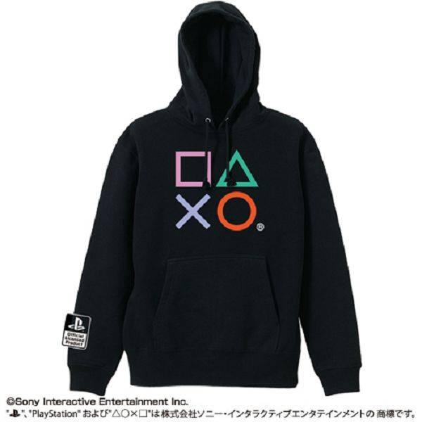 COSPA / Sony PlayStation PS / 搖桿按鈕圖樣 / 厚棉長袖帽T / 黑色 S號 COSPA,Sony PlayStation PS,搖桿按鈕圖樣,厚棉長袖帽T