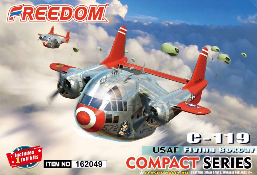 Freedom Q版 1支裝 USAF C119 飛行車廂 美軍空軍塗裝 限定版 首發附多國國徽水貼 組裝模型     Freedom,Q版,1支裝,USAF,C119,飛行車廂,美軍空軍塗裝,限定版,首發附多國國徽水貼,組裝模型,