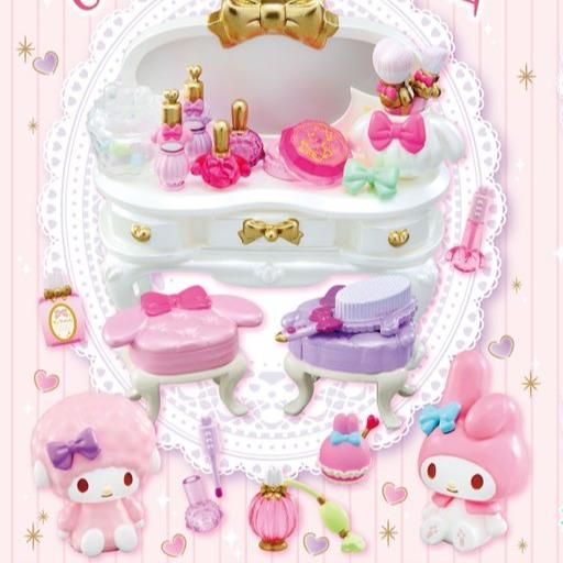 Re-ment / 盒玩 / 三麗鷗 / 美樂蒂與彼安諾的梳妝台 含糖果 / 全8種 一中盒8入販售 Re-ment,盒玩,三麗鷗,美樂蒂,彼安諾,梳妝台