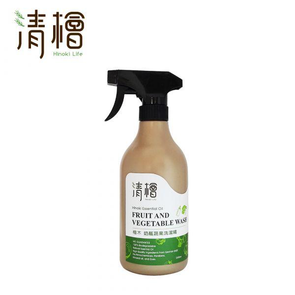 Hinoki Life 清檜 檜木奶瓶蔬果洗潔精500ml 清檜 檜木 蔬果洗潔精 去除表面農藥 成分溫和不傷手 有機認證原料