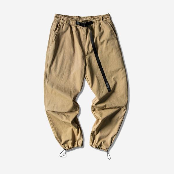 卡其休閒織帶立體長褲