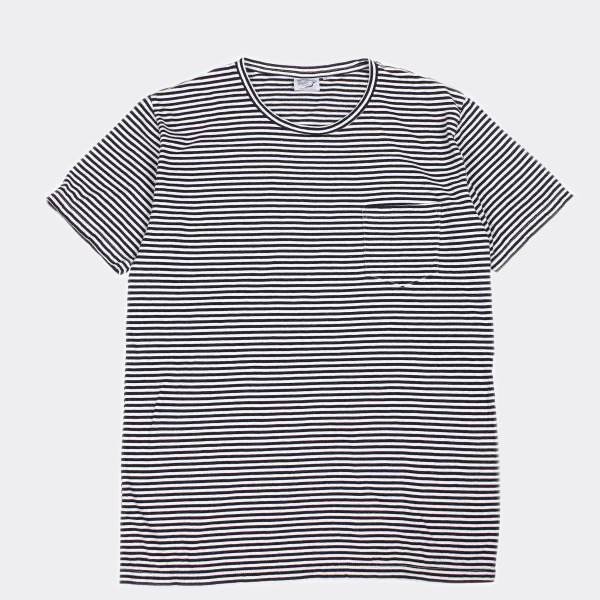 ORSLOW - INDIGO STRIPE POCKET TEE