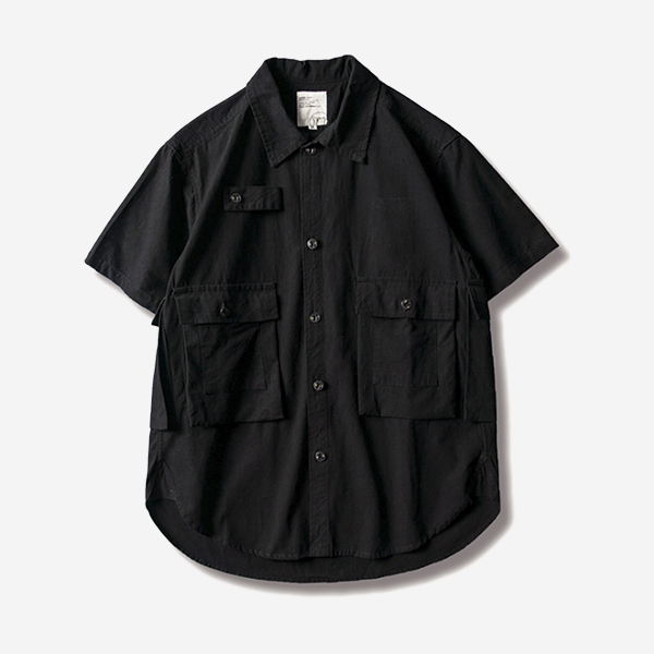 棉質口袋工裝短袖襯衫