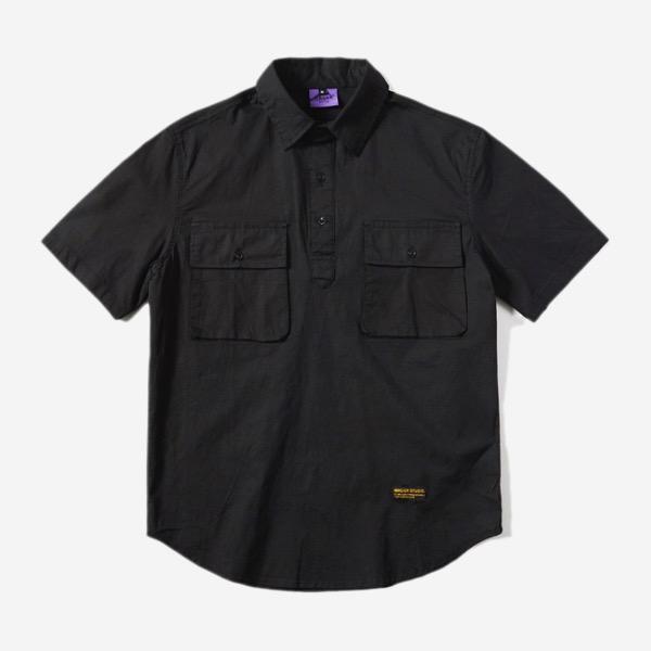 黑扣套頭口袋棉質短袖襯衫