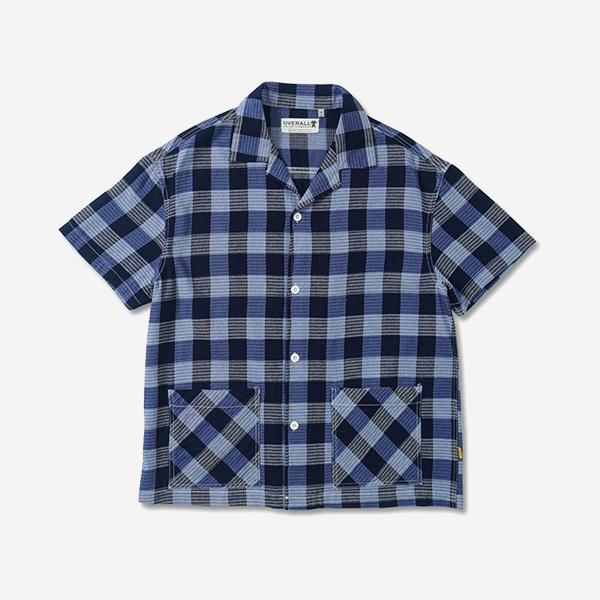 藍格紋開領雙口袋襯衫