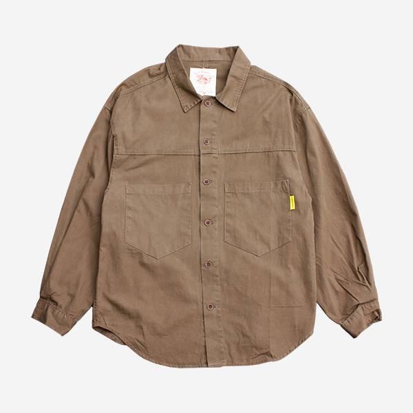 復古薄料軍裝口袋襯衫