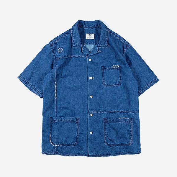 FOCUS BLUE - 日式刺子繡牛仔短袖襯衫