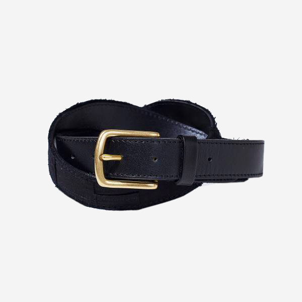 KUON - SAKIORI/BORO LEATHER BELT - BLACK