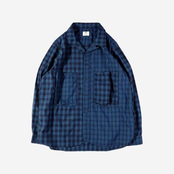 FOCUS BLUE - 藍染indigo水洗拼布長袖格紋襯衫