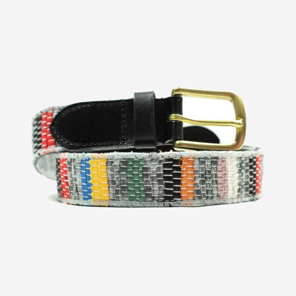 KUON - SAKIORI/BORO LEATHER BELT - BORDER