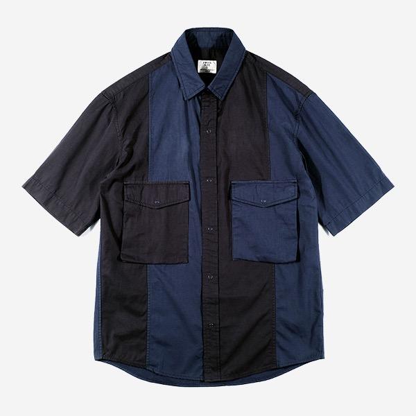 FOCUS BLUE - 速乾面料拼接短袖襯衫