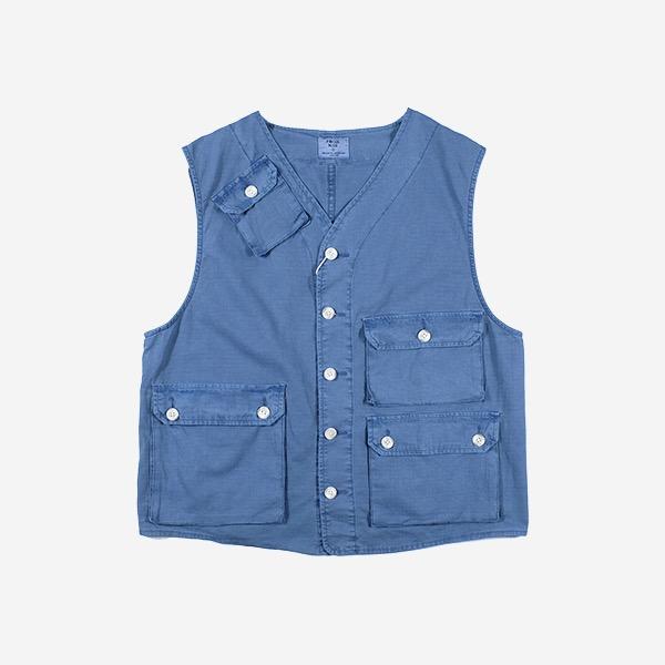 FOCUS BLUE - 藍染水洗抗撕裂多口袋背心
