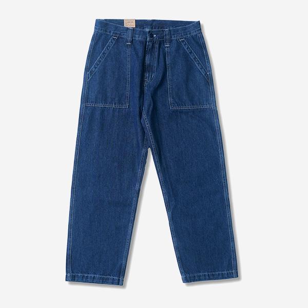 復古直筒水洗軍裝單寧褲
