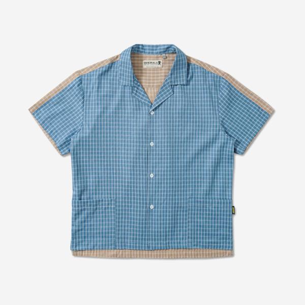 拼接撞色開領襯衫