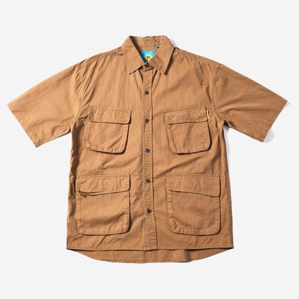素面多口袋工裝短袖襯衫