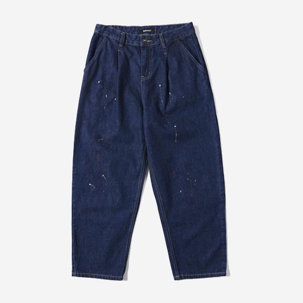 潑漆寬鬆單寧褲