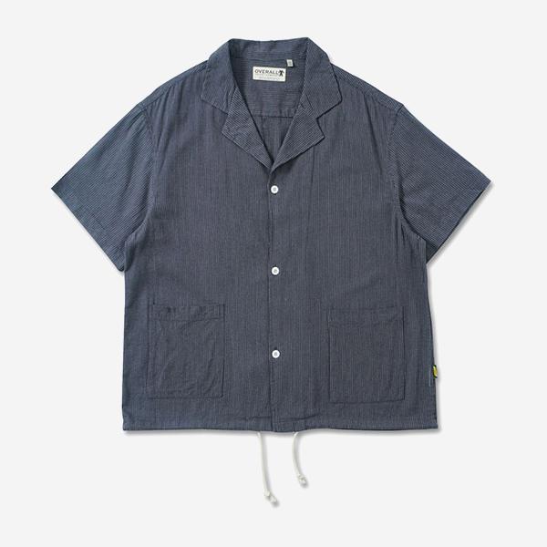 細條紋開領雙口袋襯衫