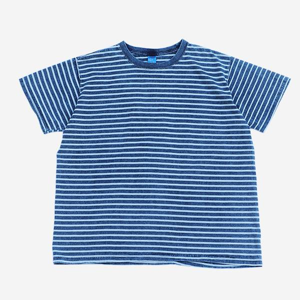 GOOD ON - INDIGO SHAVE-SS BORDER TEE