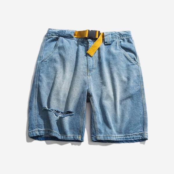 腰帶寬鬆破洞淺單寧短褲