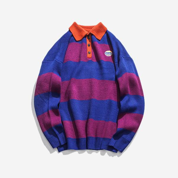 STRIPED JERSEY POLO SHIRT (2 COLORS)