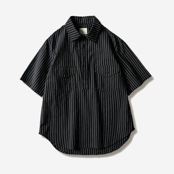 工裝套頭直條紋短襯衫