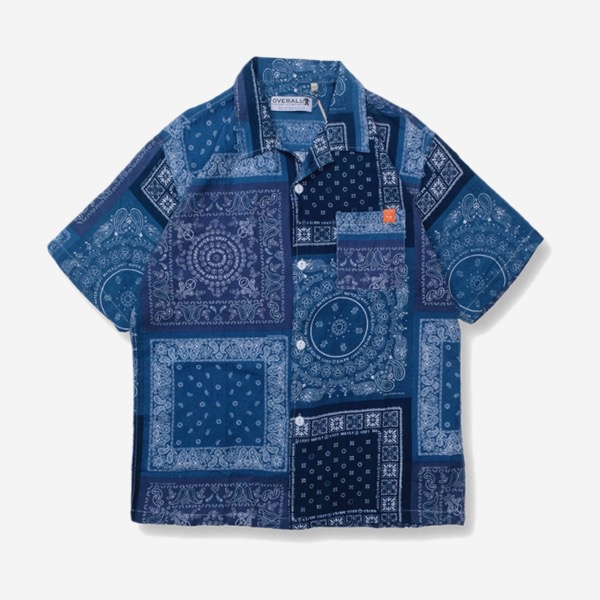 開領拼接變形蟲藍染襯衫