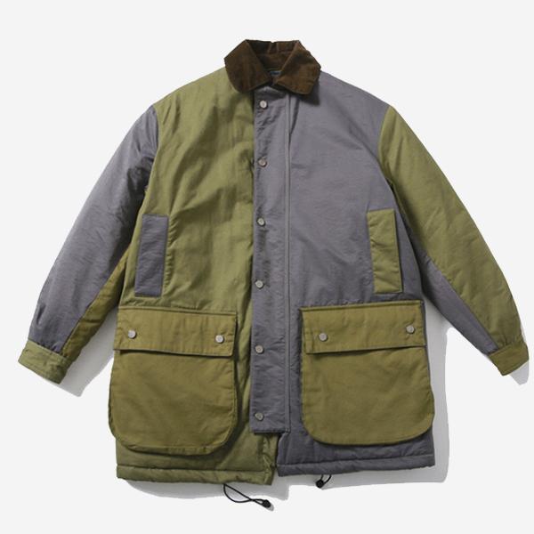 軍綠拼接口袋舖綿獵裝外套
