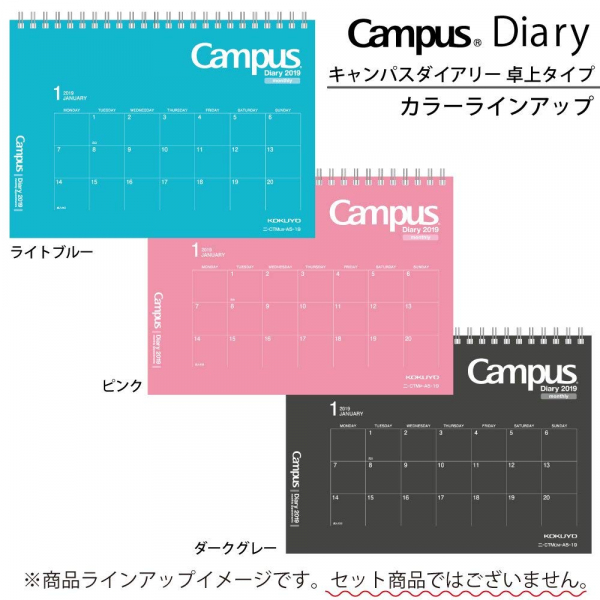 Campus手帳2019 兩用桌曆月間A5