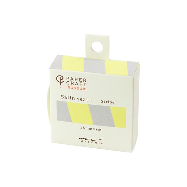 PCM紙藝博物館-緞帶貼紙-黃灰條紋
