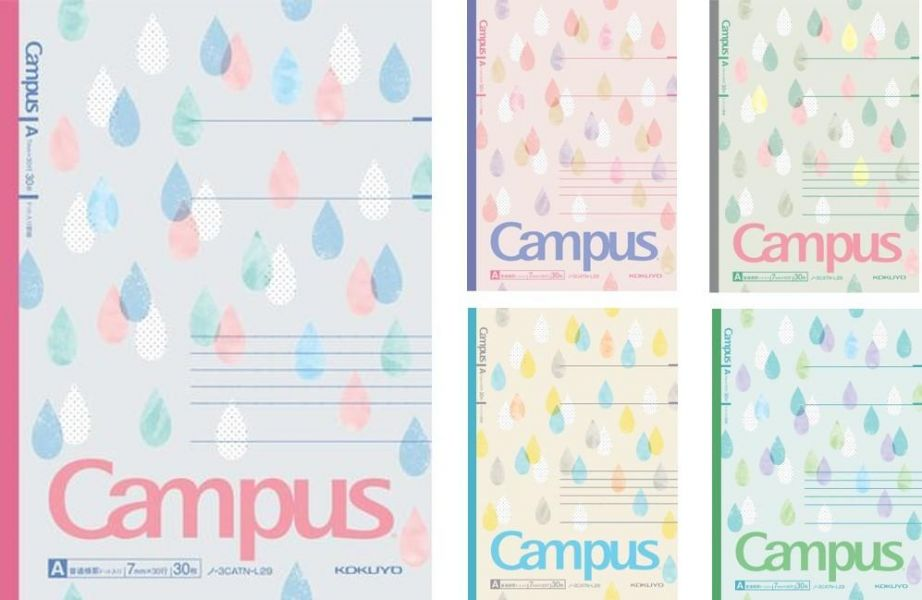 Campus點線A罫B罫筆記本B5-粉彩水滴5入